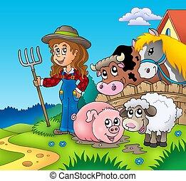 国, 女の子, ∥で∥, 家畜