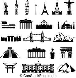 国, 建築, silhouette., 記念碑, ランドマーク, 世界, icon., ∥あるいは∥