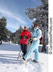 国, 恋人, より古い, 交差点, スキー