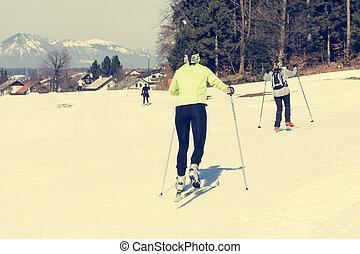国, 恋人, 女の子, 交差点, track., スキー, 楽しみ, 持つこと