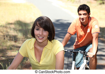 国, 恋人, 自転車, 若い, 乗馬