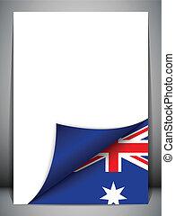 国, 旗, オーストラリア, 回転しているページ