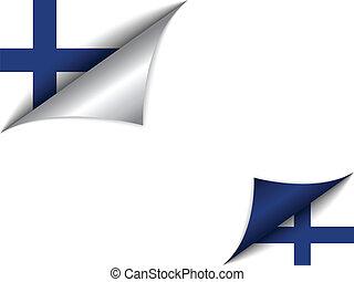 国, 旗, フィンランド, 回転しているページ