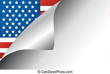 国, 旗, 回転しているページ, アメリカ