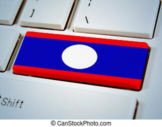 国, 連合, キーボード, 南東, 旗, ボタン, アジア人, ラオス