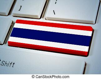 国, 連合, キーボード, button., 南東, タイの旗, アジア人
