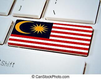 国, 連合, キーボード, button., 南東, マレーシアの旗, アジア人