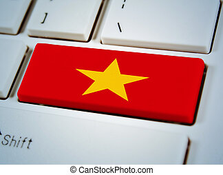 国, 連合, キーボード, button., 南東, 旗, アジア人, ベトナム