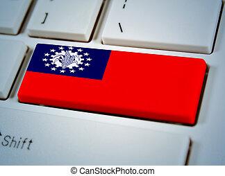 国, 連合, キーボード, button., 南東, myanma, 旗, アジア人