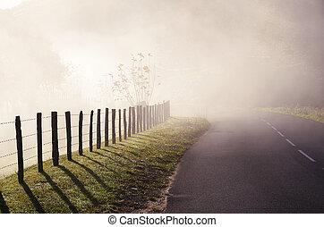 国, 霧, 道