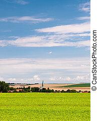 国, 高い, 田園, タワー, 教会