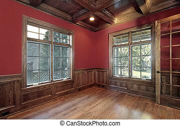 图书馆, 带, 红的墙壁