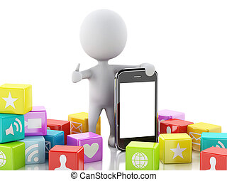 图标, 人们, app, 移动电话, 背景。, 3d, 白色