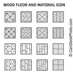 图标, 地板, 树木
