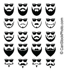 图标, 太阳镜, 胡子, 消息灵通的人