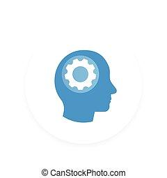 图标, 头, 矢量, 齿轮, pictogram