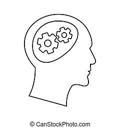 图标, 头, 风格, outline, 齿轮