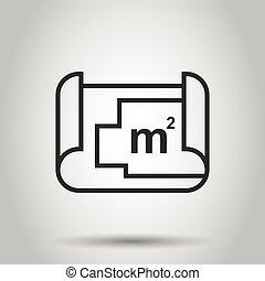 图标, 套间, 房间, 蓝图, concept., 描述, 计划, 商业, 房子, 白色, 隔离, 背景。, style., 规划, 矢量