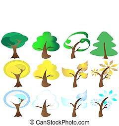 图标, 季节, 四, 树