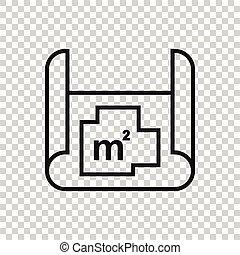 图标, 房子, 房间, 套间, 矢量, 白色, 蓝图, 描述, 规划, style., 背景。, 计划, 隔离, 商业, concept.