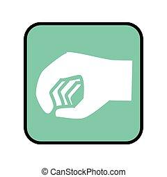 图标, 按钮, 广场, 关闭, 手