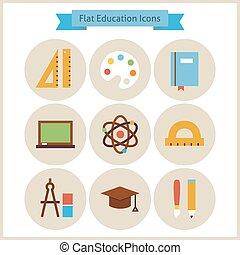 图标, 放置, 套间, 学校, 教育