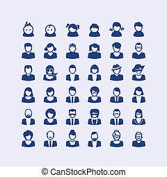 图标, 放置, avatar