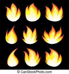 图标, 火, 收集