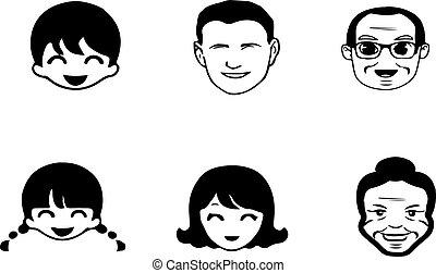 图标, 白色, 开心, 背景人们