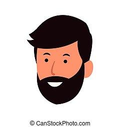 图标, 胡子, 人, 开心