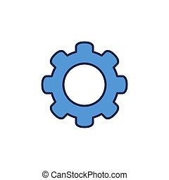 图标, 轮子, cog, 矢量, 蓝色, 概念
