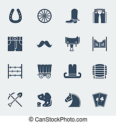 图标, 野的西方, 矢量, pictograms., 牛仔, isolatedon, 白色