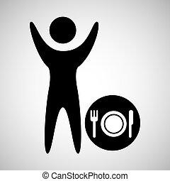 图标, 餐馆, 签署, 人, 开心