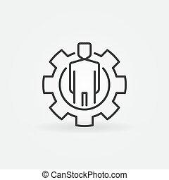 图标, outline, 人, 齿轮