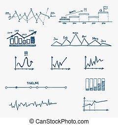 图表, 图表, 商业财政, 统计, infographics, 心不在焉地乱写乱画, 手, 画, elements.