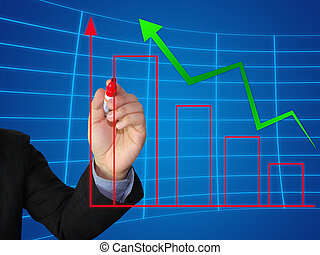 图表, 增长, 写, 商业