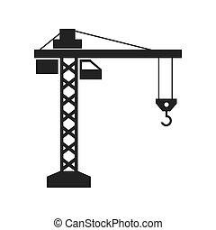 图表, 建设机器, 矢量, 起重机, 图标