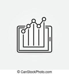 图表, 概念, 图标, 统计, 矢量, 内部, 稀薄, 牌子, 线