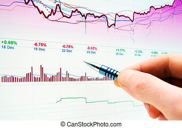 图表, 监控, 市场, 股票