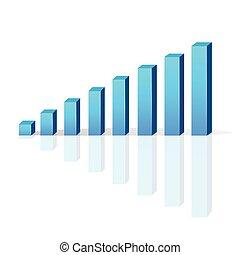 图表, 矢量, 酒吧, 3d, 商业增长, 图表