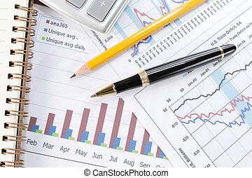 图表, 钢笔, 背景, 商业