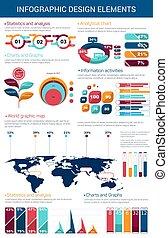 图表, infographic, 设计, 图表, 元素
