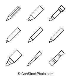 图, 同时,, 写工具, 图标