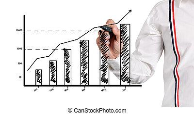 图, 增长, 在中, 图表