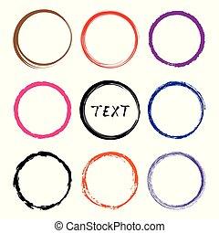 圈子, 略述, 矢量, set., 手, frames., 畫, 線