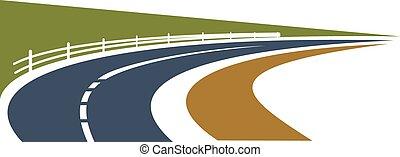 國家道路, 旋轉, 在中間, 綠色, 領域