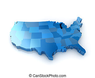 國家, 地圖, 團結, 美國, 3d