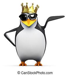 國王, 他的, 點, 左, 企鵝, 3d