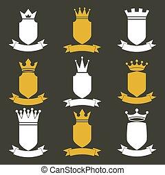 國王, 波動, 集合, illustration., elements., 喜慶, 皇家, heraldic, 王冠,...