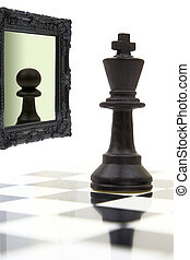 國王, 看在鏡子, 以及, 看見, a, pawn.